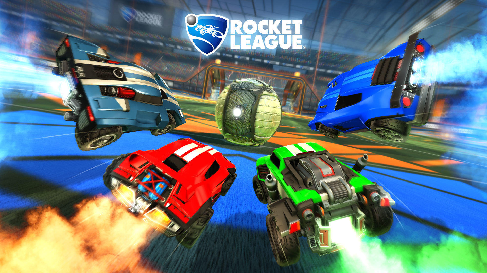 4 Rocket League Autos fliegen zum Ball